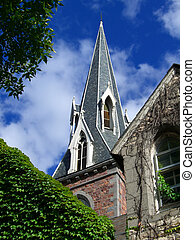 Church Spire - Church spire with ivy
