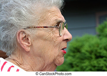 Annoyed Grandmother - Grandmother figure in profile with...