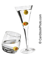 Martinis - Two martinis with olives and white background