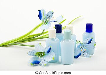 Błękitny, kwiat,  composition:, kosmetyki