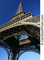 Looking up at Eiffel - View of the Eiffel Tower.