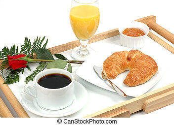 Breakfast In Bed - Breakfast tray with coffee, orange juice,...
