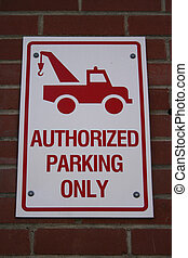 Authorised parking only sign