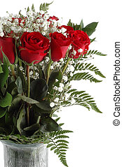 Red Roses - Bouquet of red roses isolated on a white...