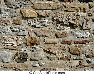 Rock wall foundation - Old rock foundation or wall for...
