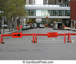 road closed sign and barriers