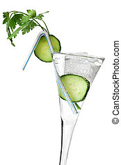 Healthy Drink - Healthy drink with cucumber garnish