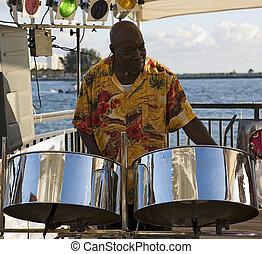 músico, en, Acero, tambores