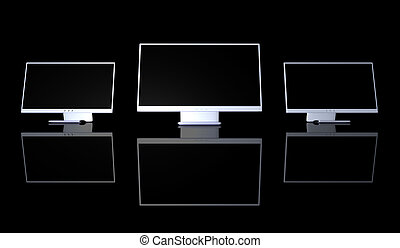 Triple Monitor Setup - 3D Illustration. Three Monitors in a...
