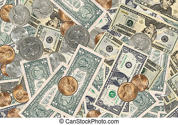 Money Background - Photo of Various Type of US Currency -...