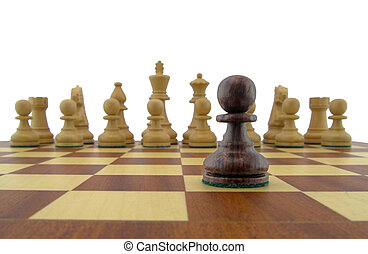 Chess pieces - black pawn looking down the chessboard