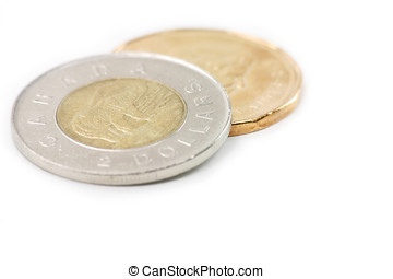 canadian coins, two dollar and one dollar coins