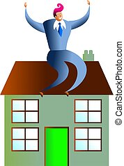 housing success - happy business man sitting on house -...
