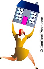housing success - happy woman carrying house - concept...