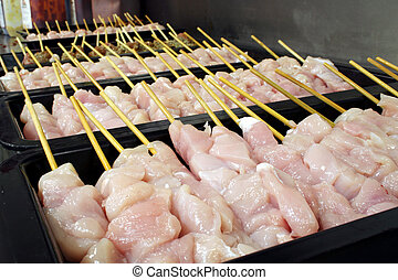 Chicken kebabs - Trays of fresh raw chicken kebabs