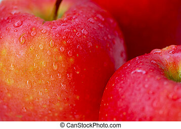 Red apples macro - Macro of red apples with water droplets