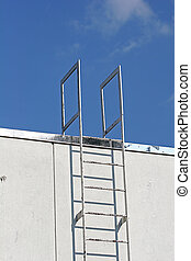 Industrial Ladder - Industrial ladder to roof on back of...