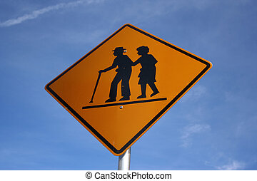 warning elderly pedestrians road sign