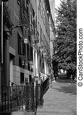 Black and White Row Houses Beacon Hill Boston - a well lit...