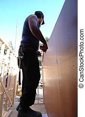 carpenter at construction site