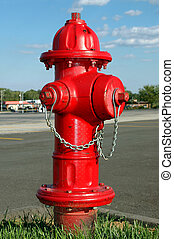 Fire Hydrant - Fire hydrant with a suburban background.