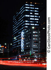 Big city night - Night view in a big city road with...