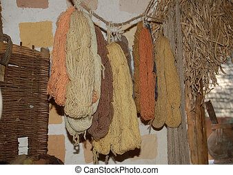 natural dyed wool - wool hanging after being dyed
