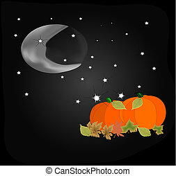 Cresent Moon and Pumpkins - Glowing cresent moon shining...