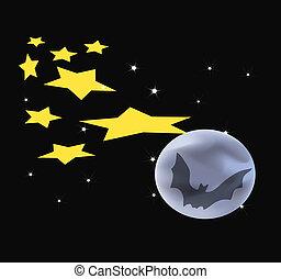 Stars Moon Bat