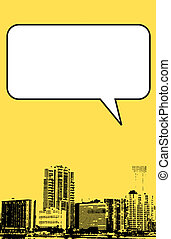 Miami Florida grunge style graphic in yellow with blank box...