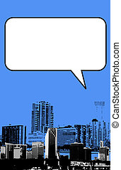 Miami Florida grunge style graphic in blue with blank box...