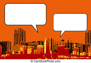 Miami Florida grunge style graphic in orange with blank box...