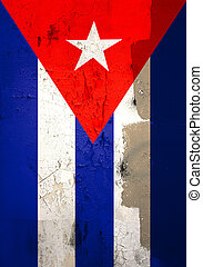 Weathered cuban flag - Photo of old and weathered cuban flag