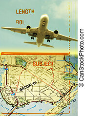 Brooklyn - Mix of 35 mm film strip, photo of a plane and map...