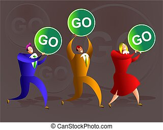 go team - team of business colleagues carrying go signs -...