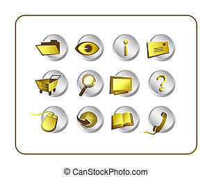 Icon Set Golden with clipping paths - Gold on Silver icon...