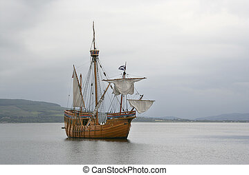replica ship - Replica sailing ship at Rothesay, Bute