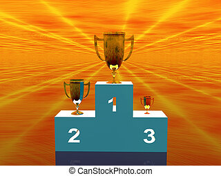 the winners, stand - 3D illustration, background of a stand,...