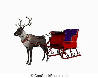 Reindeer with sledge - sledge with reindeer over white,...
