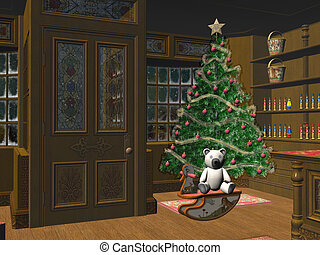 Little christmas shop. - Interior of a xmas, christmas shop,...
