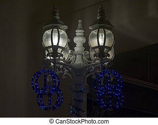 Lanterns Decorated for Christmas - Dark - 4-Lantern...