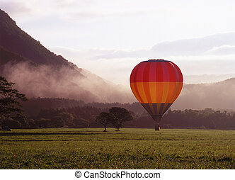 Hot Air Balloon - A colorful hot air ballon landing in a...