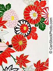 Kimono design III - Close up of the floral design on a...
