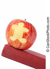 School Book and Apple - Apple on book with child figure cut...
