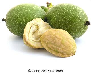 walnut - OLYMPUS DIGITAL CAMERA fresh walnuts on white...