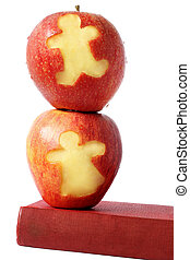 Apples and Book - Red apples and book with cutout children