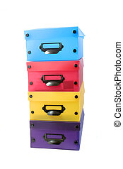 stacked boxes - stack of colorful photo boxes