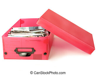 colorful photo box with photographs