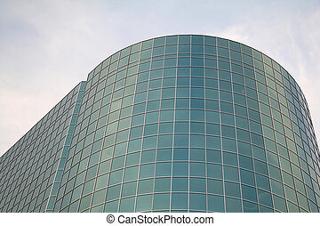 Round Office Building Covered in Glass