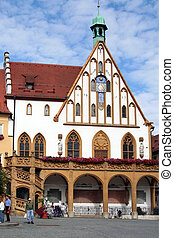Old town - Town hall   in Amberg. Bavaria